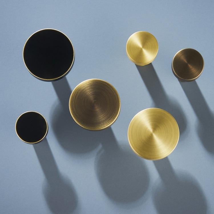 Gold Brass Eenvoudige Kast Knop Handvat Ronde Dresser Knoppen Zwart Messing Lade Trekt Knop Keuken Kast Knoppen