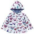 Детская Весна и Осень куртка девушки прекрасный ветрозащитный водонепроницаемый пальто девушка мода Популярных куртку ветровку