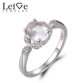 Leige Jewelry Natural Pink Quartz Rings Engagement Rings Oval Cut Pink Gemstone Solid 925 Sterling Silver Wedding Gifts for Her