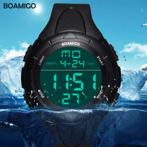 BOAMIGO brand men sports watches man fashion casual digital LED watches swimming military shock rubber wristwatches gift clock