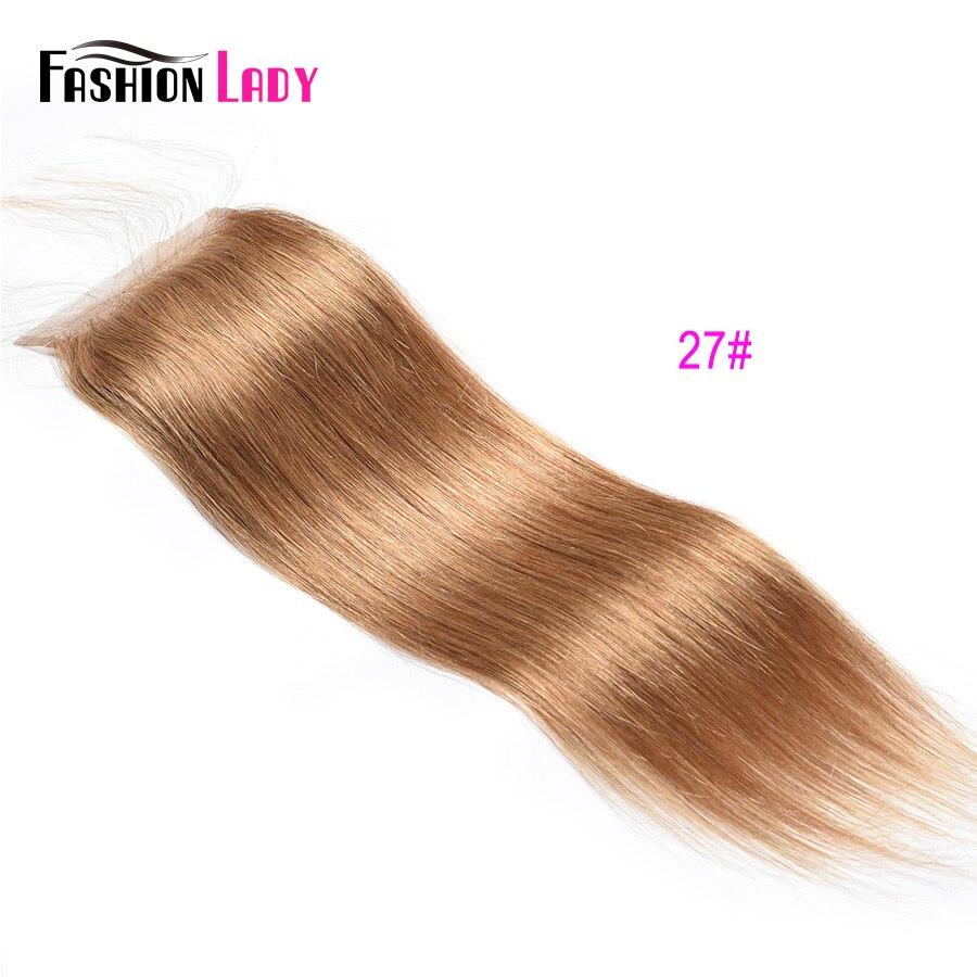 Модные женские Pre-крашеные бразильские волосы синтетическое закрытие волос прямые волосы кружево синтетическое закрытие волос 4x4 дюйма#2 каштановые человеческие волосы - Цвет: #27
