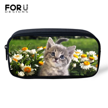FORUDESIGNS Flower Cute Cats Prints Cosmetic Bags Cartoon Animal Lady Make Up Travel Girls Pen Children Pencil