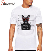 Phanteen French Bulldog Design Man T Shirts Bad Dog Print Cute T-shirts Casual Plus Size Funny Tees Fashion Men Brand Clothing