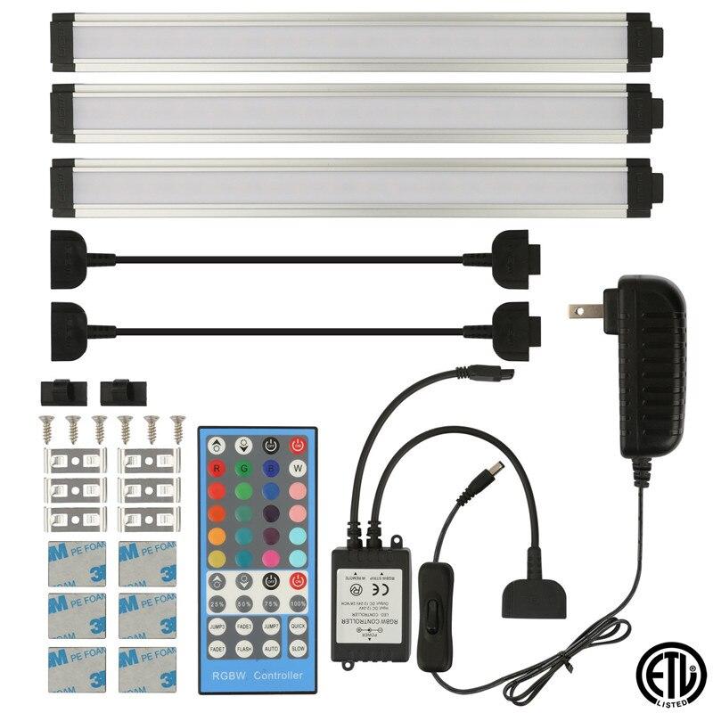 12 V couleur changeante sous éclairage LED pour placard lumières de rondelle pour le comptoir de cuisine bureau espace de travail éclairage 3 panneaux 12 pouces lumières de barre de LED