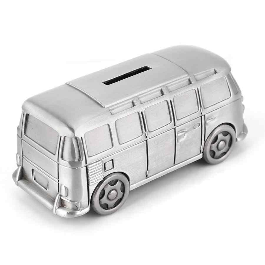 VINTAGE โลหะรถบัสกล่องเงินเครื่องบินไดโนเสาร์ Piggy Bank ของเล่นเด็กรถประหยัดพลังงานเหรียญวันเกิดของขวัญงานฝีมือ
