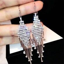 CX-Shirling Long Shiny Tassel Earrings Women Anti-Allergy Full Zircon Waterdrop Earring Female Party Night Club Earrings Brincos