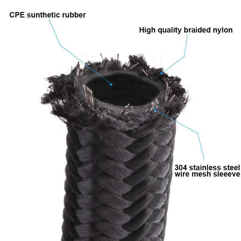 AN4 4-un tuyau de ligne d'huile/carburant tressé en NYLON et en acier inoxydable 1 mètre + droit + raccord pivotant à 45 degrés tuyau noir avec clé