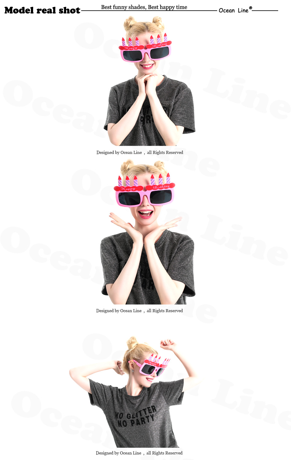 1 Giant Birthday Cake Candles Happy Props Sunglasses