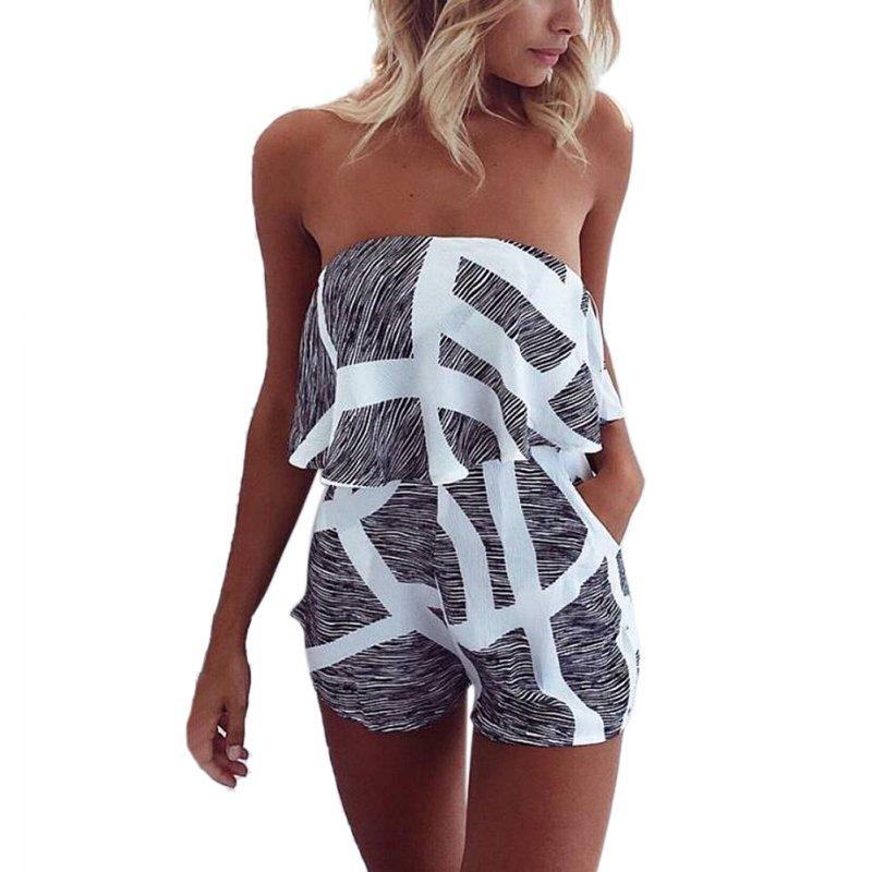 WEXINBUY Women Sexy stripes Brat wide leg sleeveless pants 2018 USA New Wild Style Playsuits