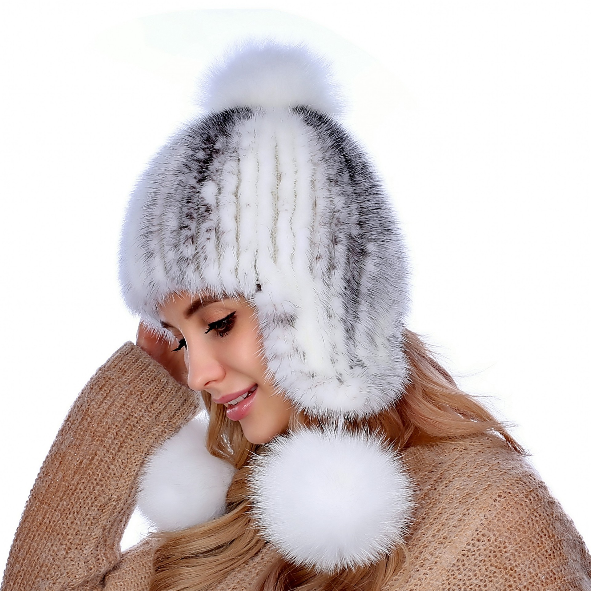 Mink fur knit hat mink fur really warm Hat Lady ear cap thickening foreign trade explosion models in europe and america in winter knit hat fashion warm mink mink hat lady ear cap dhy 36