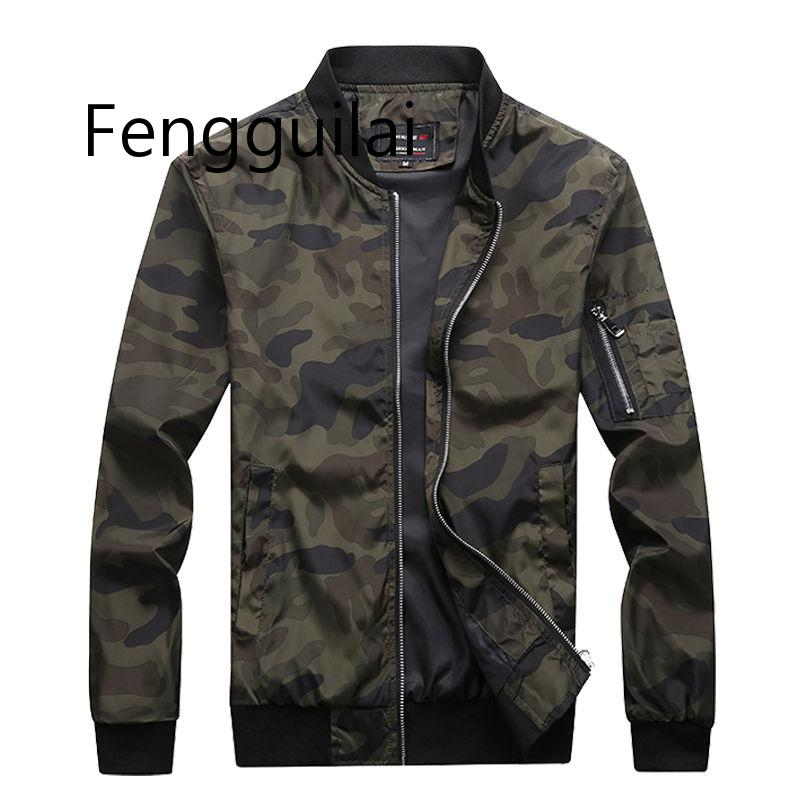 M-7XL 2019 New Autumn Mens Camouflage Jackets Male Coats Camo Bomber Jacket Brand Clothing Outwear Plus Size