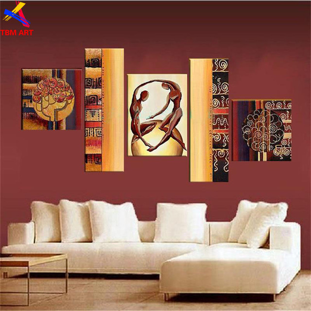 5pcs Modern Abstract Oil Painting On Canvas Wall Art Handmade Home