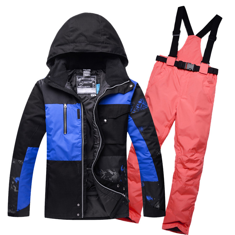 Dropshipping Waterproof Sportwear snow jacket and pants Women Winter Ski wear Top Hooded Jacket Strap Pants Female Ski Suits pelliot brand ski pants women winter