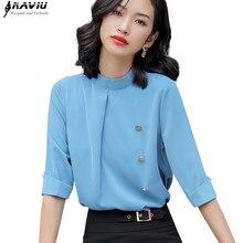 מקצועי נשים בתוספת גודל חולצה 2019 חדש חצי שרוול שיפון חולצות משרד גבירותיי אופנה עסקים טמפרמנט Loose חולצות