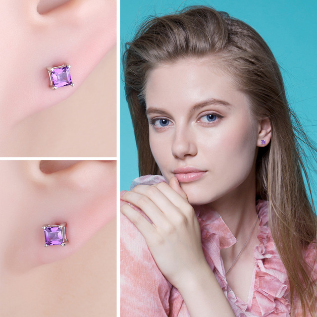 Classic Square Natural Amethyst Stud Earrings