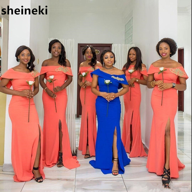 African 2019 Coral Royal Blue Off Shoulder Mermaid Bridesmaids Dresses Long  Cap Sleeve Lace Split Side Wedding Guest Dresses 5c7ffd1bb556