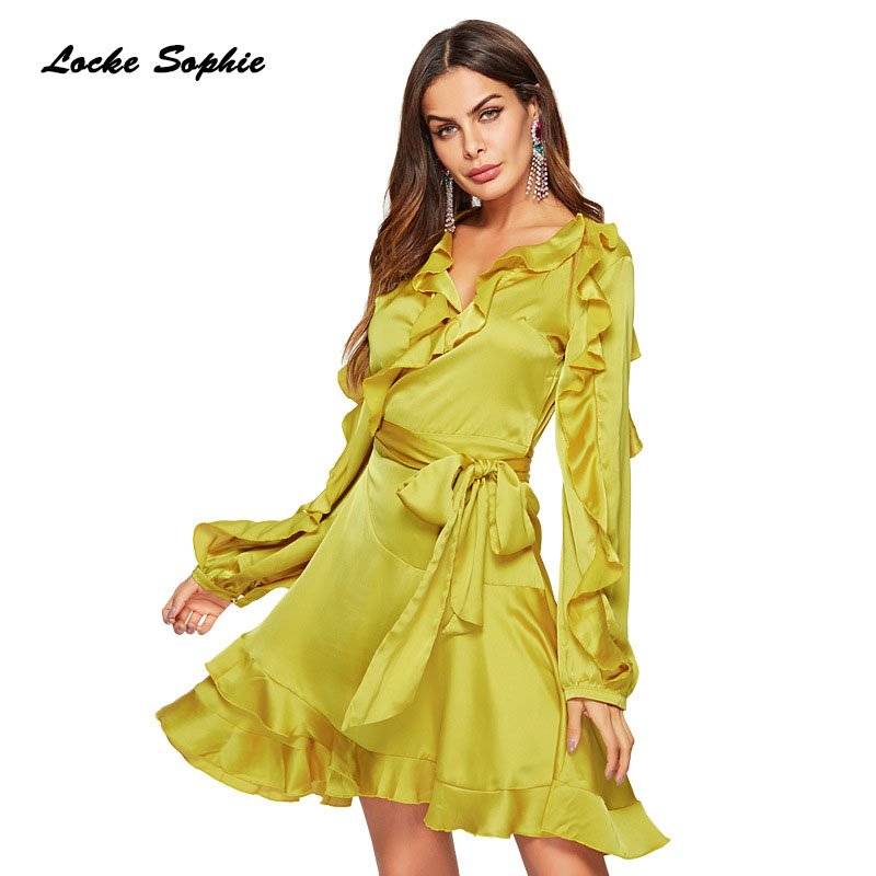 1pcs High waist Ladies Plus size Sexy party dresses 2019 Summer Real silk Splicing Bandage Ruffles Dress women 39 s Skinny Dress in Dresses from Women 39 s Clothing