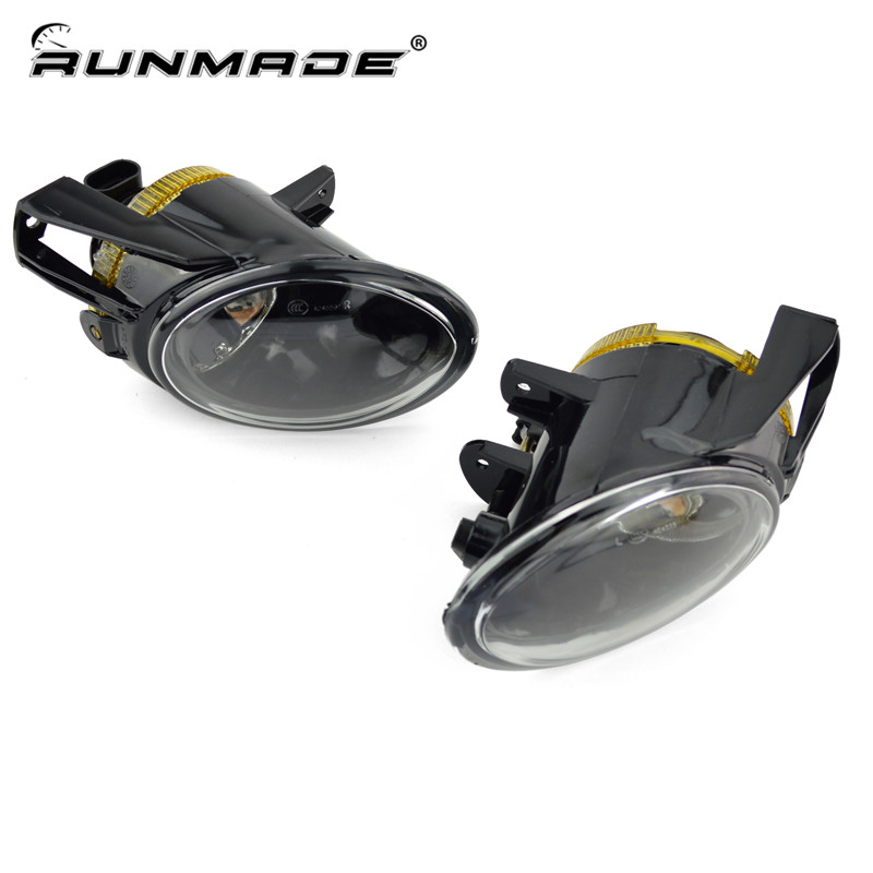 runmade 1Pair Fog Lights For 2006-2010 VW Passat B6 3C Clear Lens Front Fog Lamp Driving Lamp Left & Right Side for vw passat b6 2006 2007 2008 2009 2010 2011 pair or left or right led lights drl daytime running lights