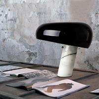 Современный минималистский гриб дизайн металла декоративная настольная лампа Nordic спальня белый мрамор База прозрачное стекло E27 светодио