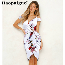 Corset Print Floral Women's Summer Dress 2019 Off Shoulder Bodycon Wrap Dress Women Asymmetrical Flower Dress Plus Size S-XXL