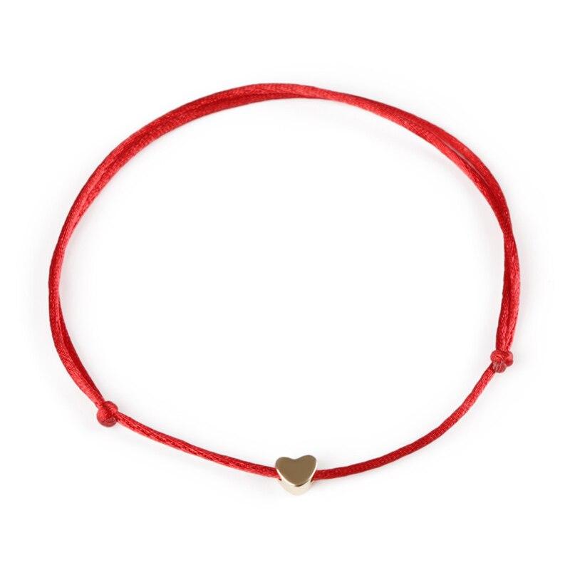 KEJIALAI Gold Color Heart Bracelet Silver Handmade Jewelry Multicolor Rope Adjustable String Lucky Bracelet For Women Children 2
