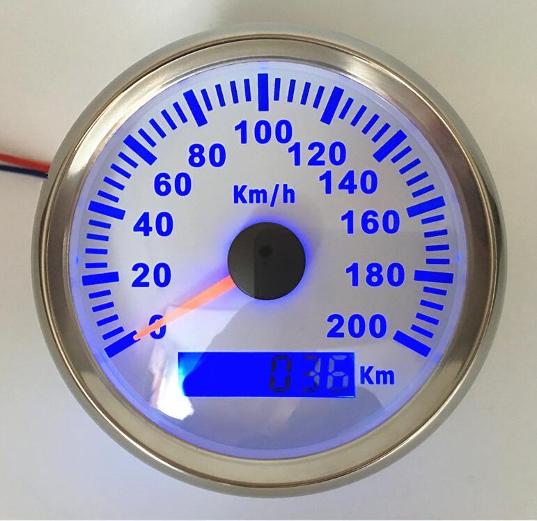 1pc Brand New GPS Speedometer Gauges 0 200km/h 85mm Speed Indicators Waterproof LCD Speed Gauges with Blue Backlight 9 32vdc