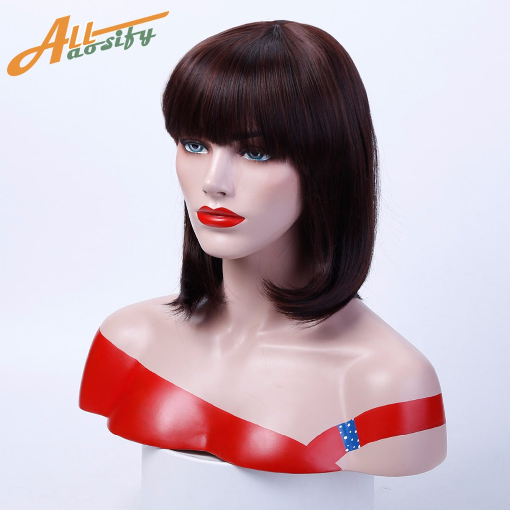 Allaosify Womes Wigs Black Bob Cosplay Short Straight Wig with Bangs Synthetic Coetume Cosplay Hair