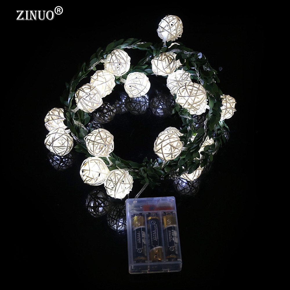 ZINUO 2M 20LEDs Garland Rattan Ball Leaf LED String Holiday Lights - Мерекелік жарықтандыру - фото 4