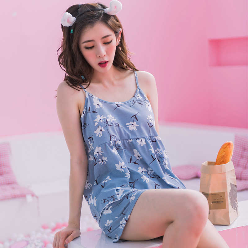 5e2ebe0f47 ... New Arrivals Summer Sweet Girls Sleeveless Pajamas Young Women s Pajama  Sets Cotton Sleepwear Female Sexy Nightgowns