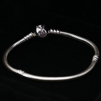 100% 925 Sterling Silver Bead Charm Snake Chain Fit Original Red Scarf Clasp Pandora Bracelet for Women DIY Pandora Jewelry Gift