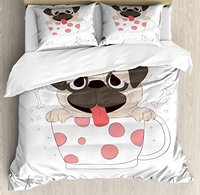 Pug Duvet Cover Set Live Love Bark Quote with a Puppy in Cup Happiness Funny Valentine's Image 4 Piece Bedding Set