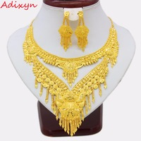 Adixyn 2018 Luxury Dubai Necklace/Earrings Jewelry set Gold Color & Copper African/Arab Gifts Bride Wedding Accessories