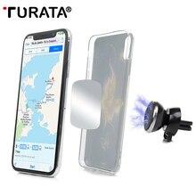 Универсальный автомобильный держатель TURATA на 360 градусов, магнитный автомобильный держатель для телефона, подставка с gps, магнитное крепление на вентиляционное отверстие для iPhone X 7 Xs Max Soporte