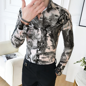 Image 2 - Korean Slim Fit Men Shirt Brand New Long Sleeve Print Mens Casual Shirts Night Club/Party/Prom Dress Shirt Male Clothing 3XL M