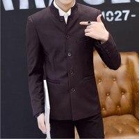 Мужской повседневный Блейзер Masculino Тонкий китайский стиль Стенд блейзер с воротником для мужчин размер плюс мужской китайский костюм куртк