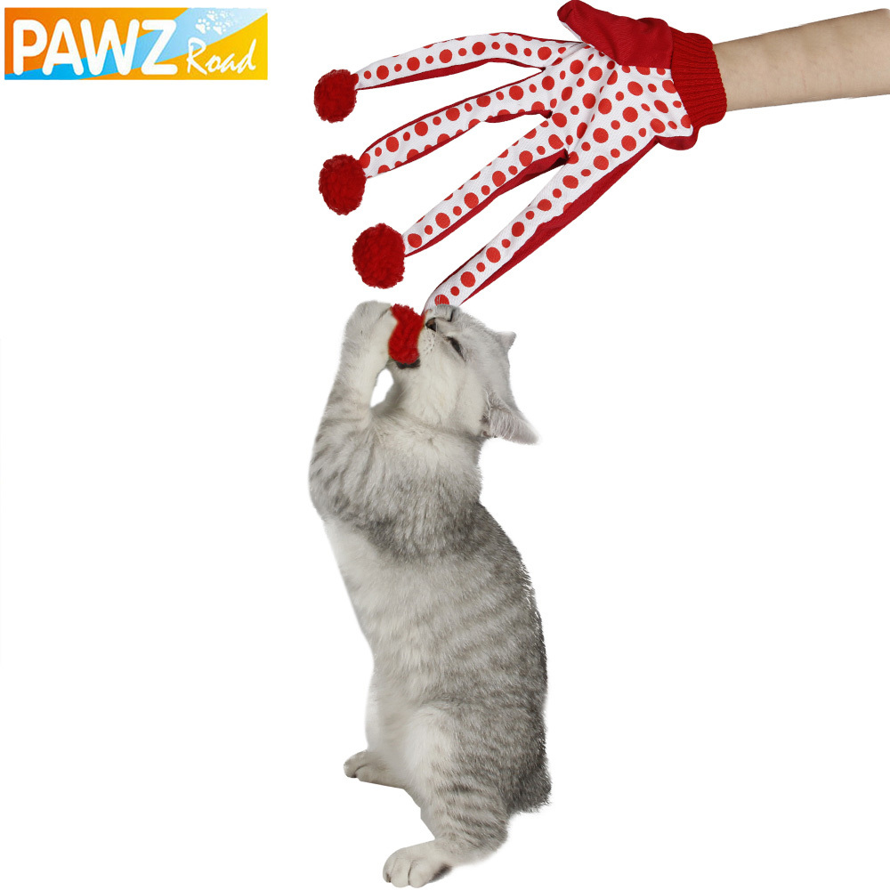 Juguete para mascotas Gato Juguete encantador Bola Divertido Cachorro Juguete Lindo lunares Scratch Guante Juguete Rojo / Verde / Azul Color Juega con gatito