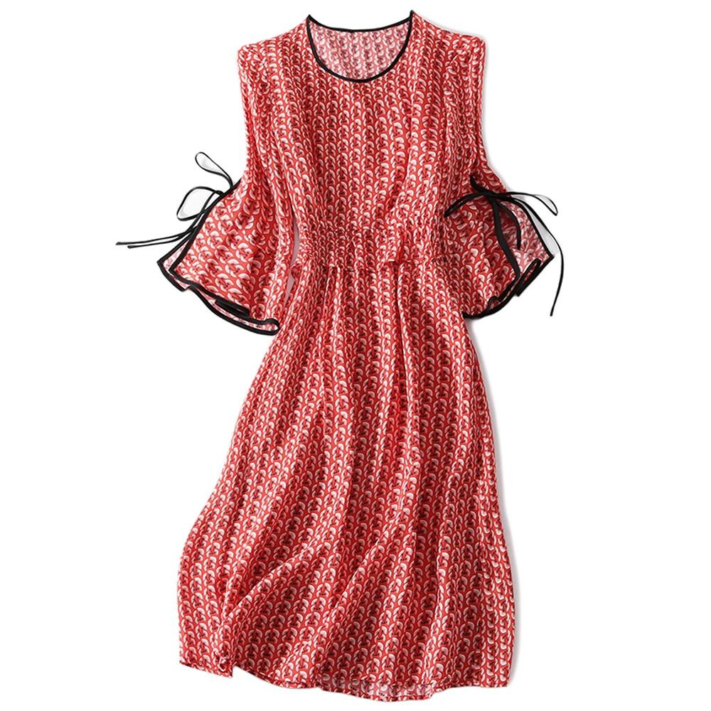 Здесь продается  Fashion 100% Real Silk Woman Dress Lady Three Quarter Flare Sleeve O-Neck Knee-Length Female Summer Women Cool Silk Dress XXL  Одежда и аксессуары