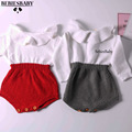 INS Hot Boys Infant Rompers Baby Girls long sleeve jumpsuits Ruffles Princess Girl Sweet Knitted Overalls Infant Romper 70-100cm