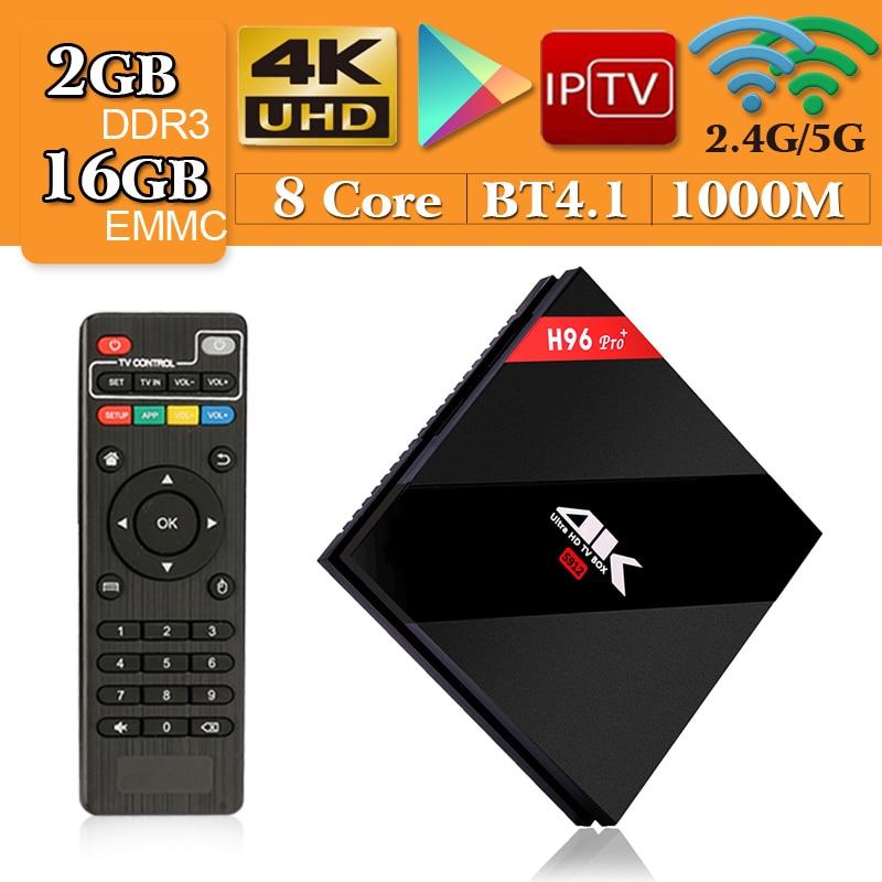 цена на New H96 Pro Plus+ Android 7.1 Smart TV Box 2G/16G Amlogic S912 Octa Core 64Bit 2.4G/5G Wifi 4K BT4.1 HD Set Top Box PK T9 X92