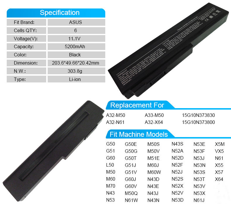 Аккумулятор A33-M50 a32-x64 для Asus G60 g50 L50 n43n M50 n53t M60 N43 M70 N53 N61 x64 X57 m50q x5m VX5 n52d m60w