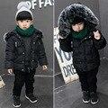 Зима дети хлопка куртки мода девушки толстые большие волосы воротник пальто с капюшоном детская одежда теплый пиджаки 16N1103