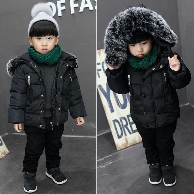 Invierno niños niñas grueso grande de cuello de pelo de moda chaqueta de algodón con capucha capa de los niños outwear caliente 16N1103