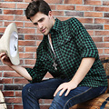 7XL 6XL 5XL  Flannel Men Plaid Shirts 2016 New Autumn Luxury Slim Long Sleeve Brand Formal Business Fashion Dress Warm Shirts