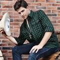 7XL 6XL 5XL Homens de Flanela Xadrez Camisas 2016 Nova Outono luxuoso Magro de Manga Longa Marca de Negócios Formal Moda Vestido Quente camisas