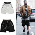 streetwear hiphop dance clothes stage clothing for men black/grey short men stretch cotton sweat jogger shorts