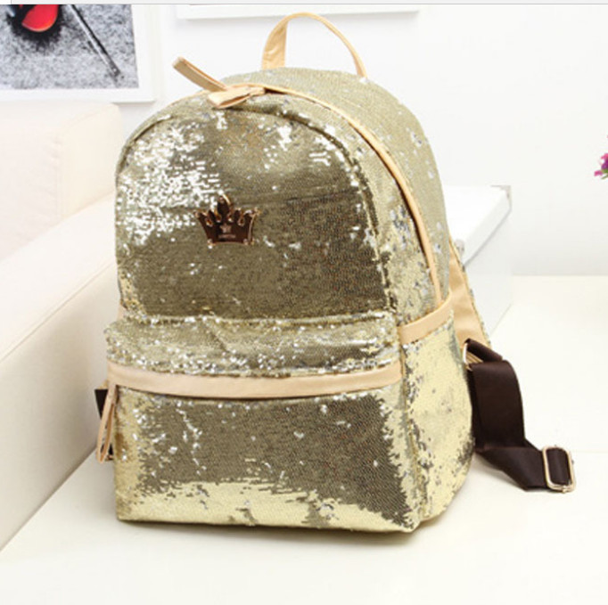 1 piece metal crown logo Mochilas Mujer Outdoor Crown Sequins Colorful Backpacks Travel Bag School Package Bags mochila in Backpacks from Luggage Bags