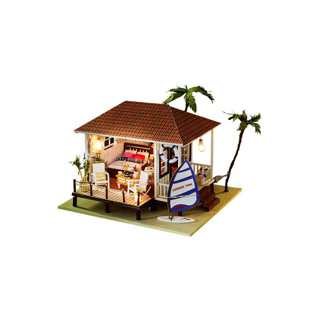 3D Miniature Dollhouse Furniture DIY House Toys for Children's Present,The Beach House Wooden Doll Houses