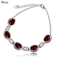 Almei Women's 925 Sterling Silver Link Chain Bracelet Oval Cut Natural Red Garnet January Birthstone Adjustable Bracelets FB047