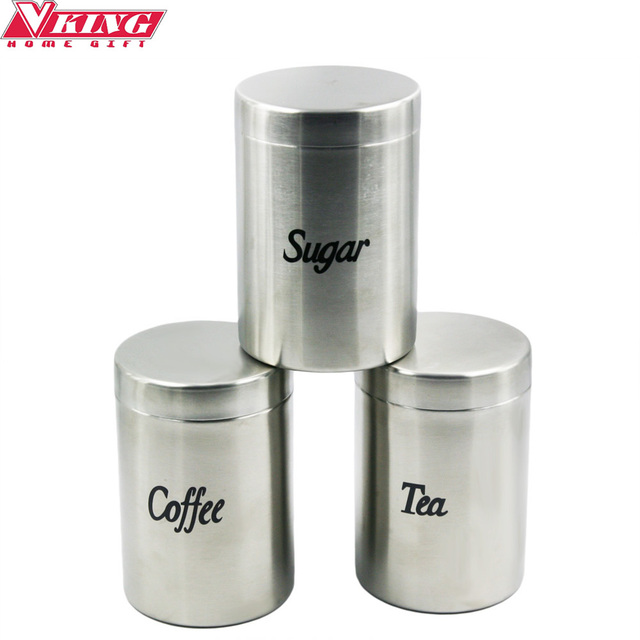3pcs Set Kitchen Supplies Coffee Tea Sugar Container Seal Pot Sealed Cans Free Shipping