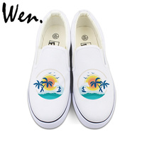 Wen Custom Design Summer Style Coconut Palm Tree Sunshine Beach Surfing White Black Slip On Shoes Unisex Canvas Sneakers